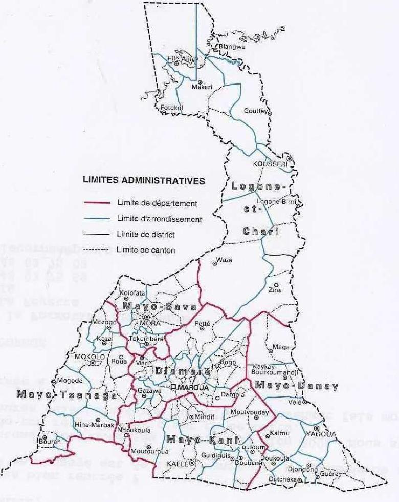 L'extrême nord du Cameroun. Source : Seignobos et Iyébi Mandjeck 2000, page 3.