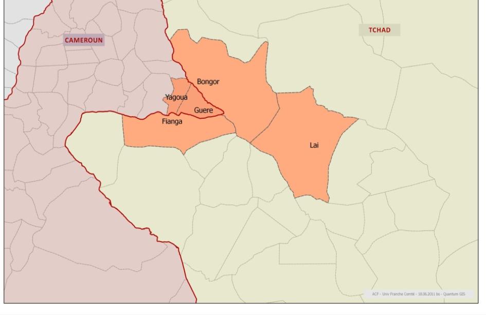 Sites de l'étude. Source: ACF, Mission Tchad, 2011