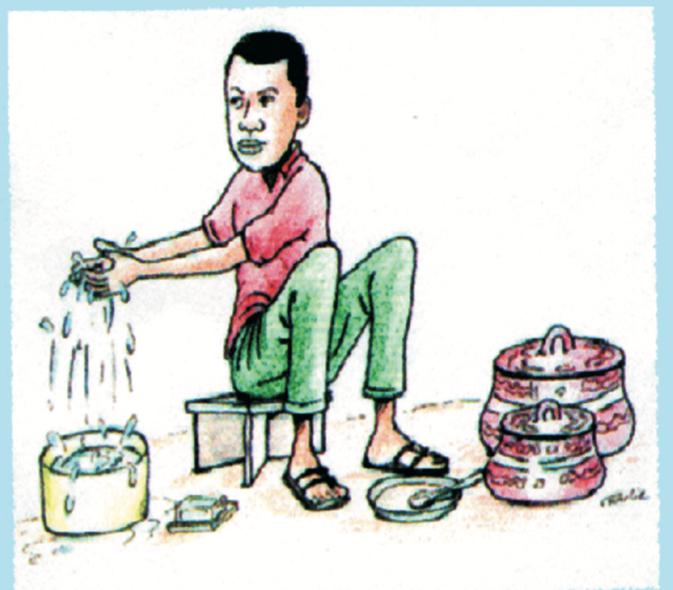 Se laver les mains avec de l'eau et du savon avant de manger. Source : Estelle Kouokam Magne ACF Mission Tchad, 2011